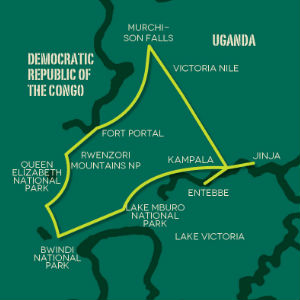 Uganda Overland Safari map