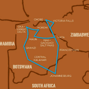 Botswana Overland Safari map