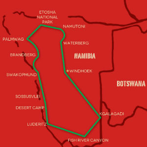 Namibia Overland Safari map