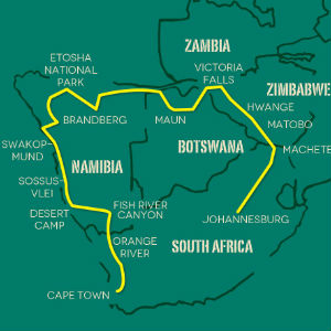 Southern Africa Adventure Safari map