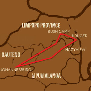 Kruger Park 5 day Safari map